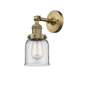 Small Bell Brushed Brass One-Light Wall Sconce with Clear Bell Glass
