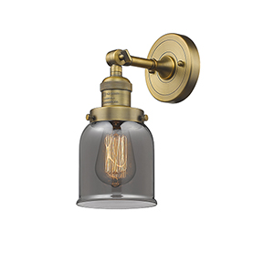 Small Bell Brushed Brass LED Wall Sconce with Smoked Bell Glass