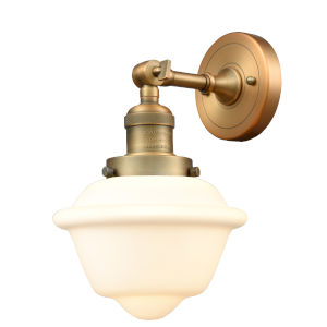 Small Oxford Brushed Brass One-Light Wall Sconce with Matte White Cased Glass