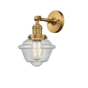 Small Oxford Brushed Brass LED Wall Sconce with Engraved Cast Cup