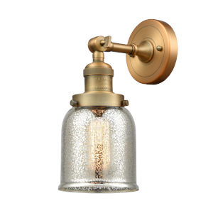 Small Bell Brushed Brass One-Light Wall Sconce with Silver Plated Mercury Glass