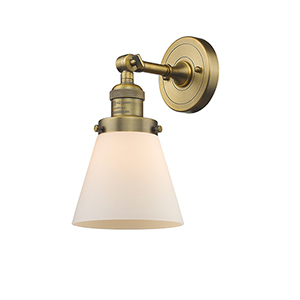 Small Cone Brushed Brass One-Light Wall Sconce with Matte White Cased Cone Glass