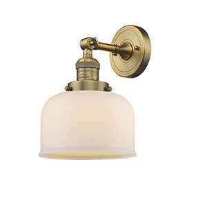 Large Bell Brushed Brass LED Wall Sconce with Matte White Cased Dome Glass