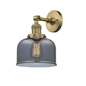 Large Bell Brushed Brass LED Wall Sconce with Smoked Dome Glass