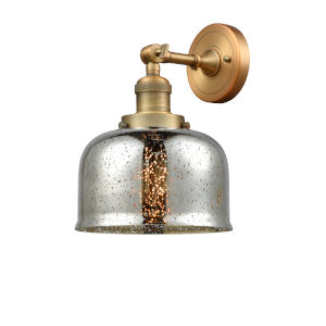 Large Bell Brushed Brass One-Light Wall Sconce