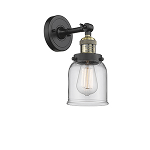 Small Bell Black Brushed Brass One-Light Wall Sconce with Clear Bell Glass