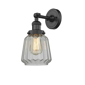 Chatham Black Six-Inch One-Light Wall Sconce with Clear Fluted Novelty Glass