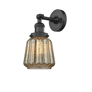 Chatham Black Six-Inch LED Wall Sconce with Mercury Fluted Novelty Glass