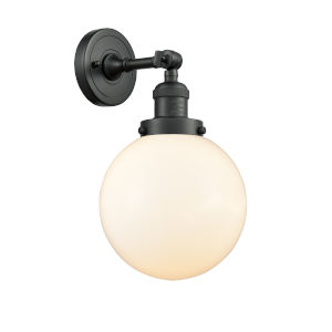 Franklin Restoration Matte Black Eight-Inch LED Wall Sconce with Matte White Glass Shade