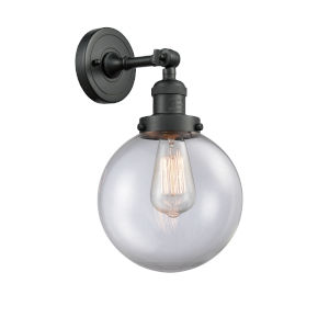 Large Beacon Matte Black One-Light Wall Sconce with Clear Glass