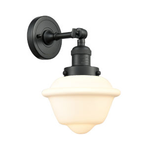 Small Oxford Matte Black LED Wall Sconce with Matte White Cased Glass