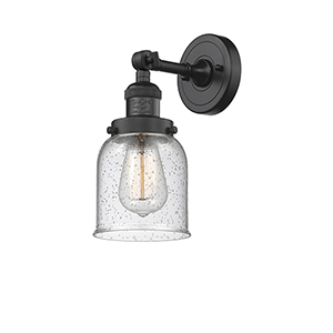 Small Bell Black Five-Inch One-Light Wall Sconce with Seedy Bell Glass