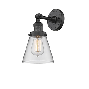 Small Cone Black Six-Inch One-Light Wall Sconce with Clear Cone Glass