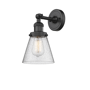 Small Cone Black Six-Inch One-Light Wall Sconce with Seedy Cone Glass