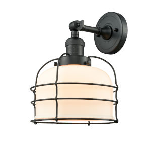 Large Bell Cage Matte Black LED Wall Sconce with Matte White Cased Glass