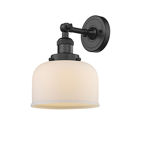 Large Bell Black Eight-Inch LED Wall Sconce with Matte White Cased Dome Glass
