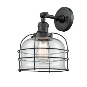 Large Bell Cage Matte Black One-Light Wall Sconce with Clear Glass