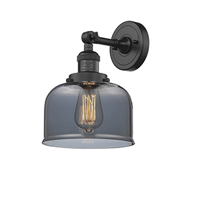 Large Bell Black Eight-Inch LED Wall Sconce with Smoked Dome Glass