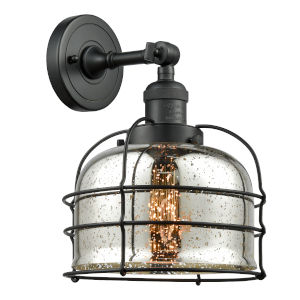 Large Bell Cage Matte Black LED Wall Sconce with Engraved Cast Cup