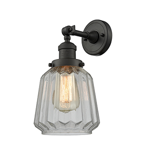 Chatham Oiled Rubbed Bronze One-Light Duo Mount with Clear Fluted Novelty Glass