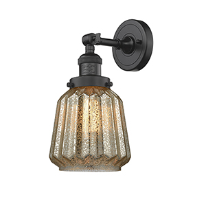 Chatham Oiled Rubbed Bronze One-Light Duo Mount with Mercury Fluted Novelty Glass