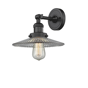 Halophane Oiled Rubbed Bronze Eight-Inch LED Wall Sconce with Halophane Cone Glass