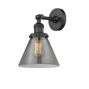 Large Cone Oiled Rubbed Bronze 10-Inch LED Wall Sconce with Smoked Cone Glass