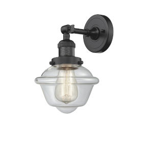 Small Oxford Oil Rubbed Bronze LED Wall Sconce with Clear Glass