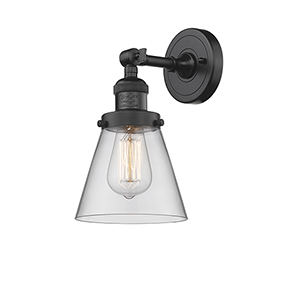 Small Cone Oiled Rubbed Bronze Six-Inch One-Light Wall Sconce with Clear Cone Glass