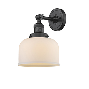 Large Bell Oiled Rubbed Bronze LED Duo Mount with Matte White Cased Dome Glass