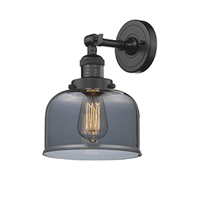 Large Bell Oiled Rubbed Bronze One-Light Duo Mount with Smoked Dome Glass