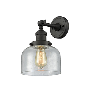 Large Bell Oiled Rubbed Bronze LED Duo Mount with Seedy Dome Glass