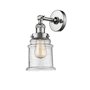 Canton Polished Chrome One-Light Wall Sconce with Seedy Bell Glass
