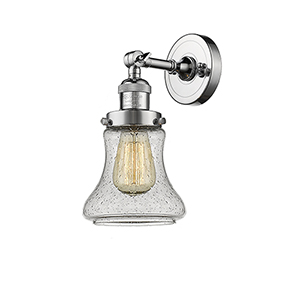 Bellmont Polished Chrome One-Light Wall Sconce with Seedy Hourglass Glass