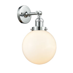 Franklin Restoration Polished Chrome Eight-Inch LED Wall Sconce with Matte White Glass Shade