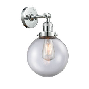 Large Beacon Polished Chrome One-Light Wall Sconce with Clear Glass