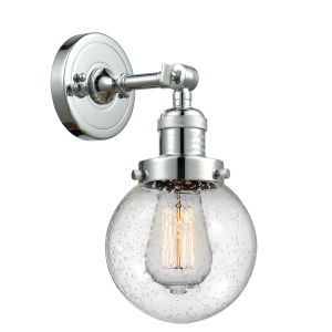 Beacon Polished Chrome LED Wall Sconce with Seedy Glass