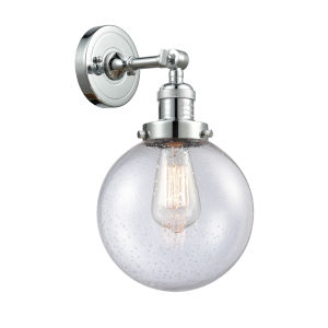 Franklin Restoration Polished Chrome Eight-Inch LED Wall Sconce with Seedy Glass Shade