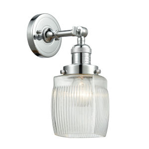 Colton Polished Chrome One-Light Wall Sconce with Engraved Cast Cup