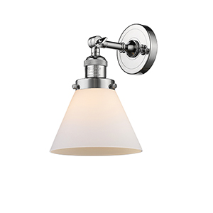 Large Cone Polished Chrome LED Wall Sconce with Matte White Cased Cone Glass