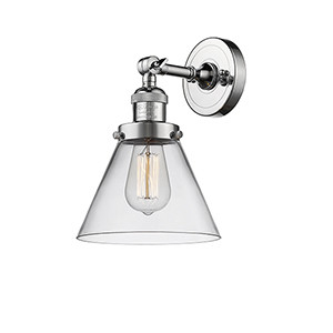 Large Cone Polished Chrome One-Light Wall Sconce with Clear Cone Glass