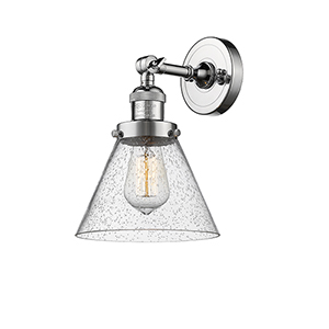 Large Cone Polished Chrome One-Light Wall Sconce with Seedy Cone Glass