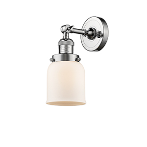 Small Bell Polished Chrome One-Light Wall Sconce with Matte White Cased Bell Glass