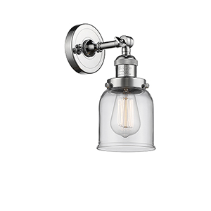 Small Bell Polished Chrome One-Light Wall Sconce with Clear Bell Glass