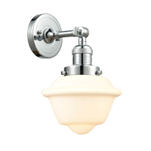 Small Oxford Polished Chrome LED Wall Sconce with Matte White Cased Glass