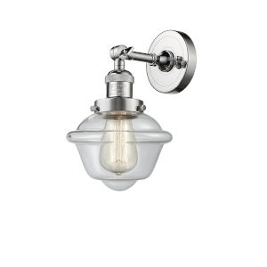 Small Oxford Polished Chrome One-Light Wall Sconce with Clear Glass