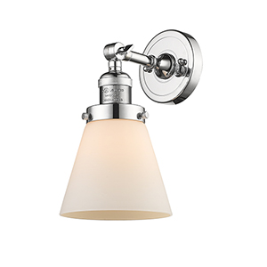 Small Cone Polished Chrome One-Light Wall Sconce with Matte White Cased Cone Glass