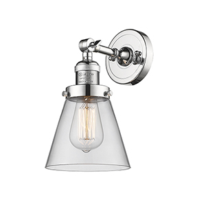 Small Cone Polished Chrome One-Light Wall Sconce with Clear Cone Glass