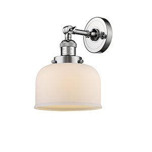 Large Bell Polished Chrome LED Wall Sconce with Matte White Cased Dome Glass