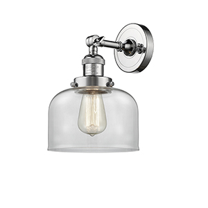Large Bell Polished Chrome One-Light Wall Sconce with Clear Dome Glass